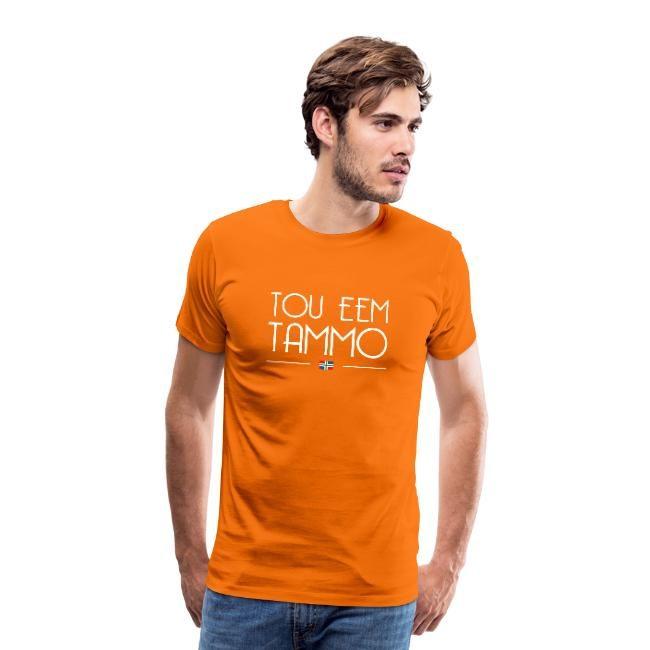 oranje t-shirt mannen met tou eem tammo groningse tekst.